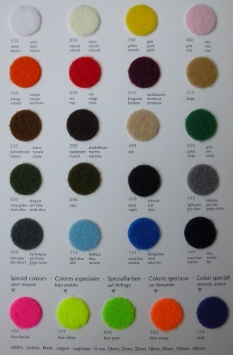 Velcro colour chart