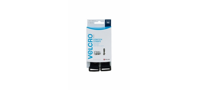 VELCRO® brand Stretch Straps 25mm x 68cm - Black (2 per pack)