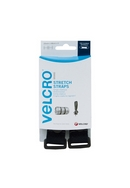 VELCRO� brand Stretch Straps 25mm x 68cm - Black (2 per pack)